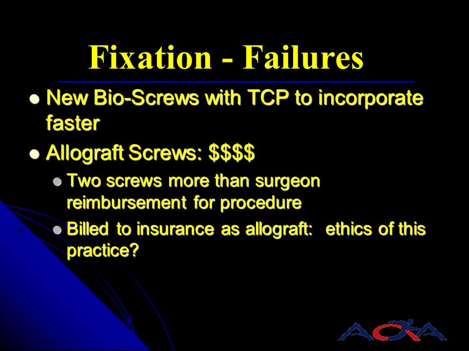 Fixation - Failures New Bio-Screws with TCP to incorporate faster