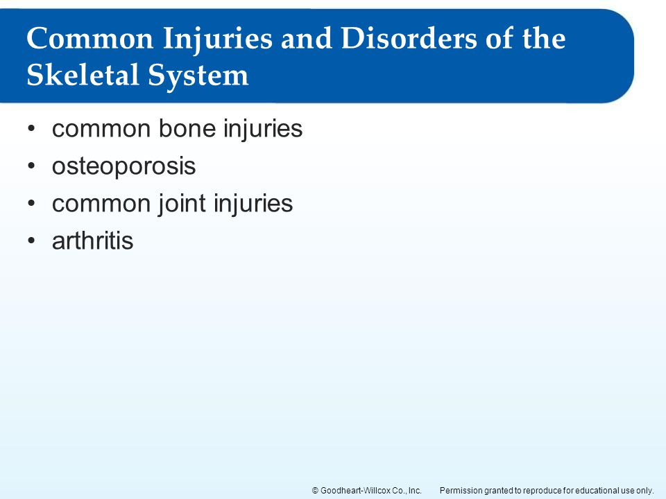 Common Injuries and Disorders of the Skeletal System
