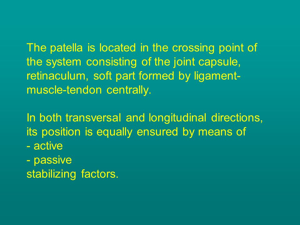The patella is located in the crossing point of the system consisting of the joint capsule, retinaculum, soft part formed by ligament-muscle-tendon centrally.