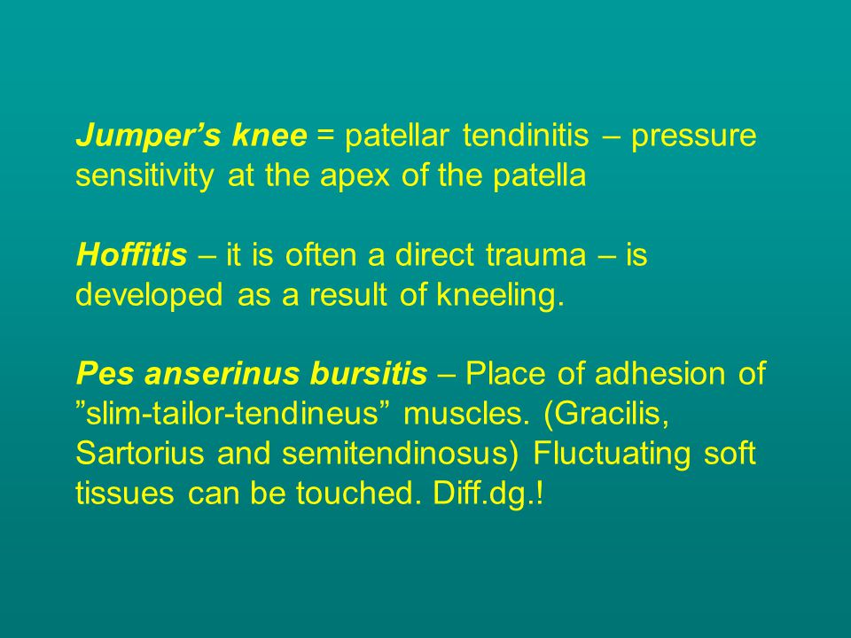 Jumper's knee = patellar tendinitis – pressure sensitivity at the apex of the patella Hoffitis – it is often a direct trauma – is developed as a result of kneeling.