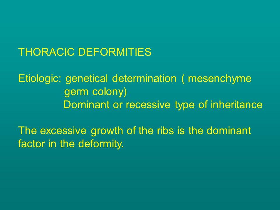 THORACIC DEFORMITIES Etiologic: genetical determination ( mesenchyme germ colony) Dominant or recessive type of inheritance.