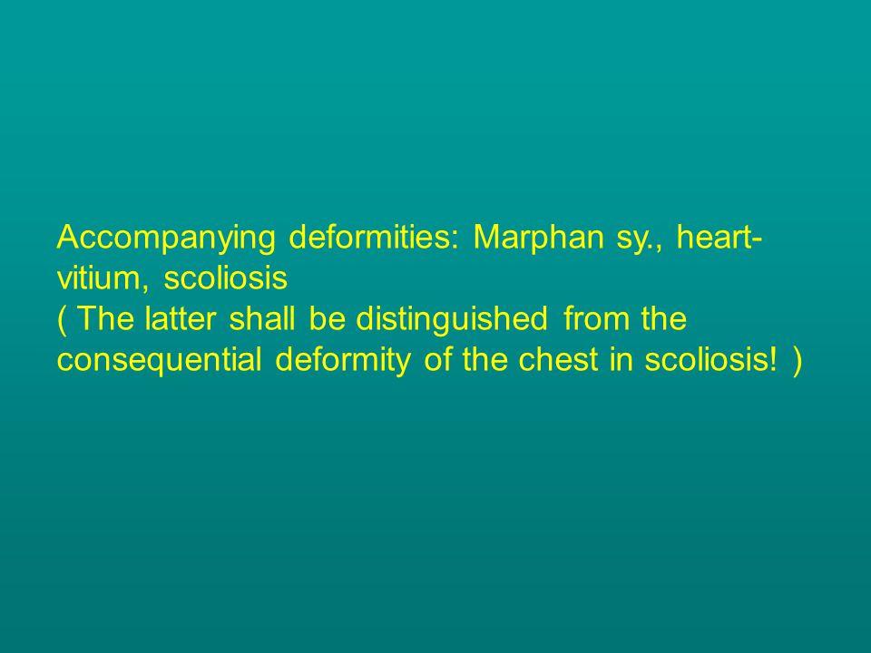 Accompanying deformities: Marphan sy., heart-vitium, scoliosis