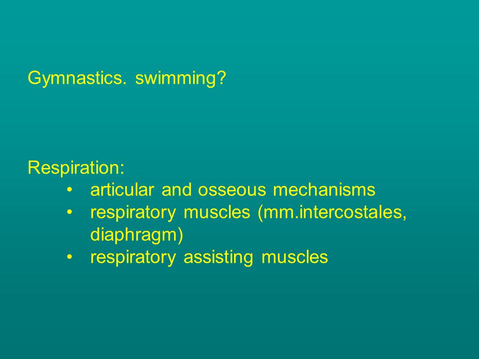 Gymnastics. swimming Respiration: articular and osseous mechanisms. respiratory muscles (mm.intercostales, diaphragm)