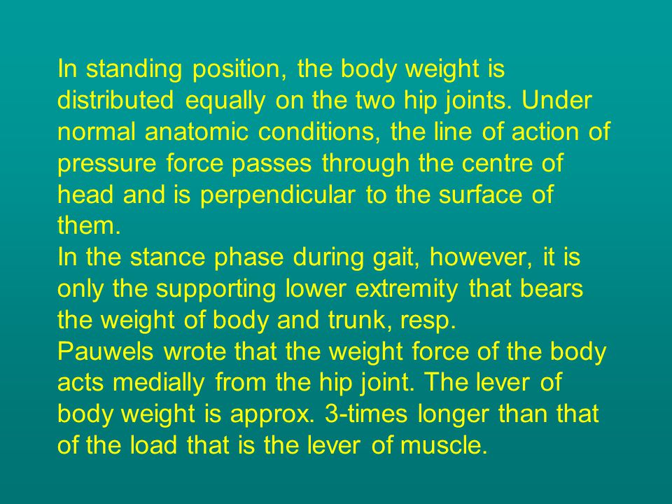In standing position, the body weight is distributed equally on the two hip joints.