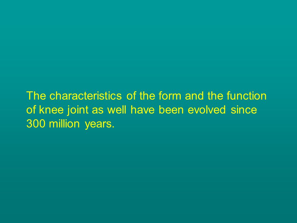The characteristics of the form and the function of knee joint as well have been evolved since 300 million years.