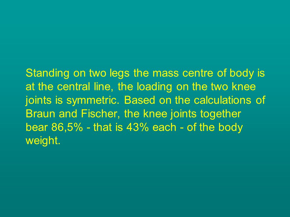Standing on two legs the mass centre of body is at the central line, the loading on the two knee joints is symmetric.