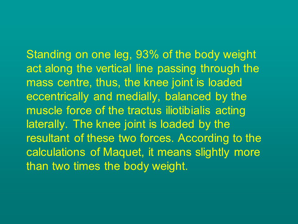 Standing on one leg, 93% of the body weight act along the vertical line passing through the mass centre, thus, the knee joint is loaded eccentrically and medially, balanced by the muscle force of the tractus iliotibialis acting laterally.