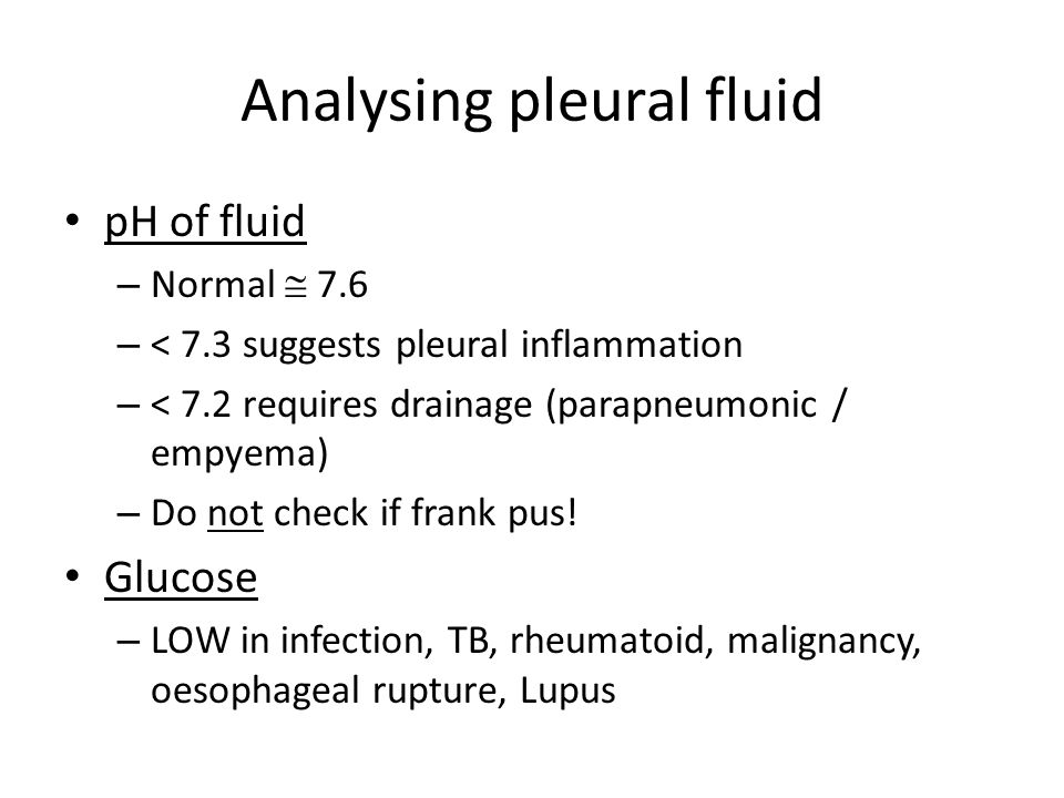 Analysing pleural fluid
