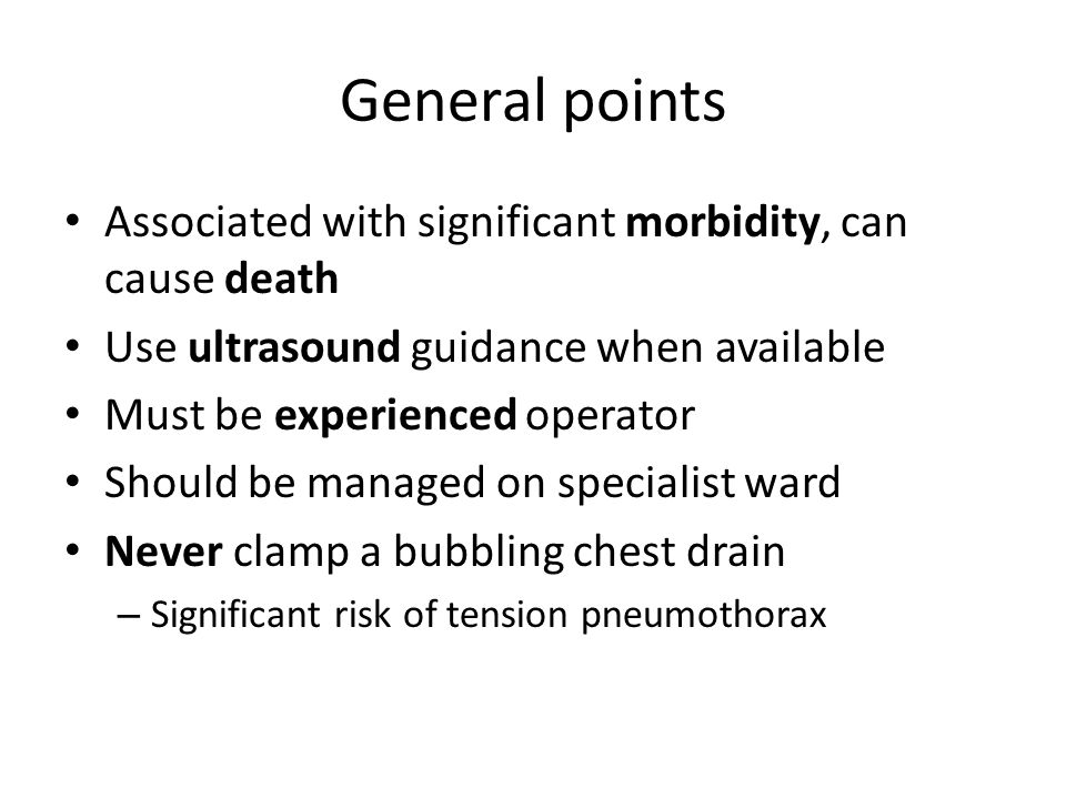 General points Associated with significant morbidity, can cause death