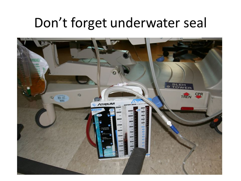 Don't forget underwater seal