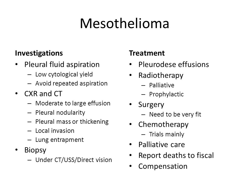 Mesothelioma Investigations Treatment Pleural fluid aspiration