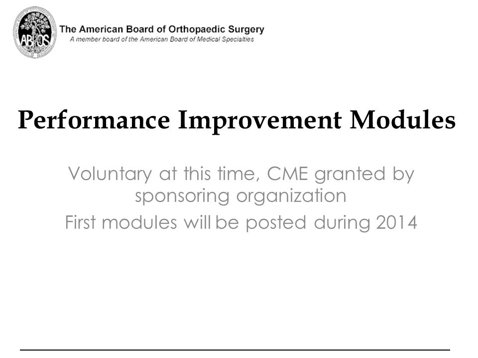 Performance Improvement Modules
