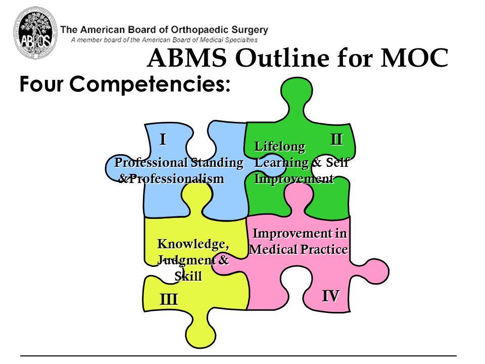 ABMS Outline for MOC Four Competencies: I II III IV Lifelong
