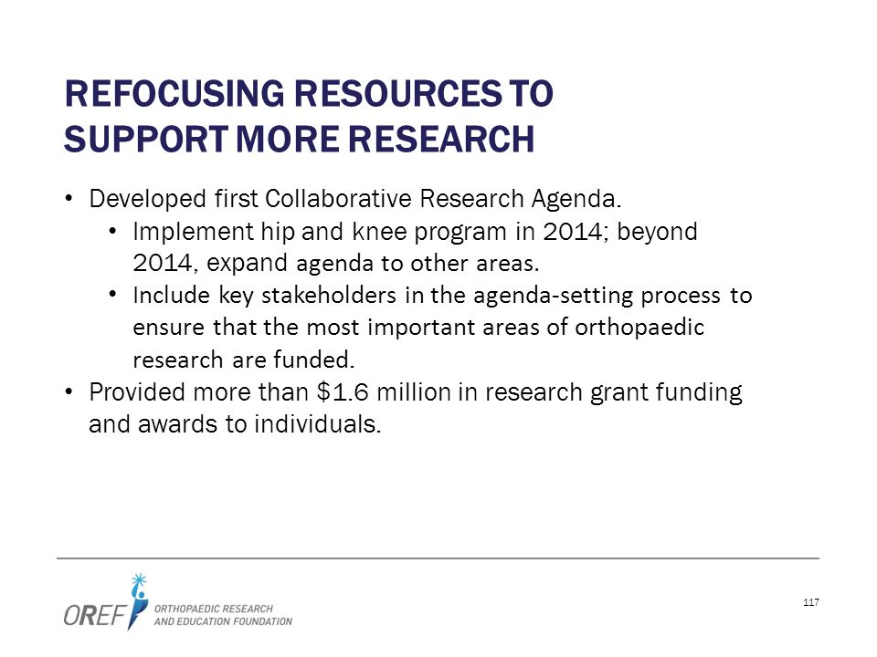 Refocusing resources to support more research