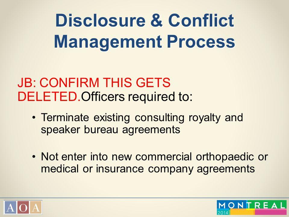Disclosure & Conflict Management Process