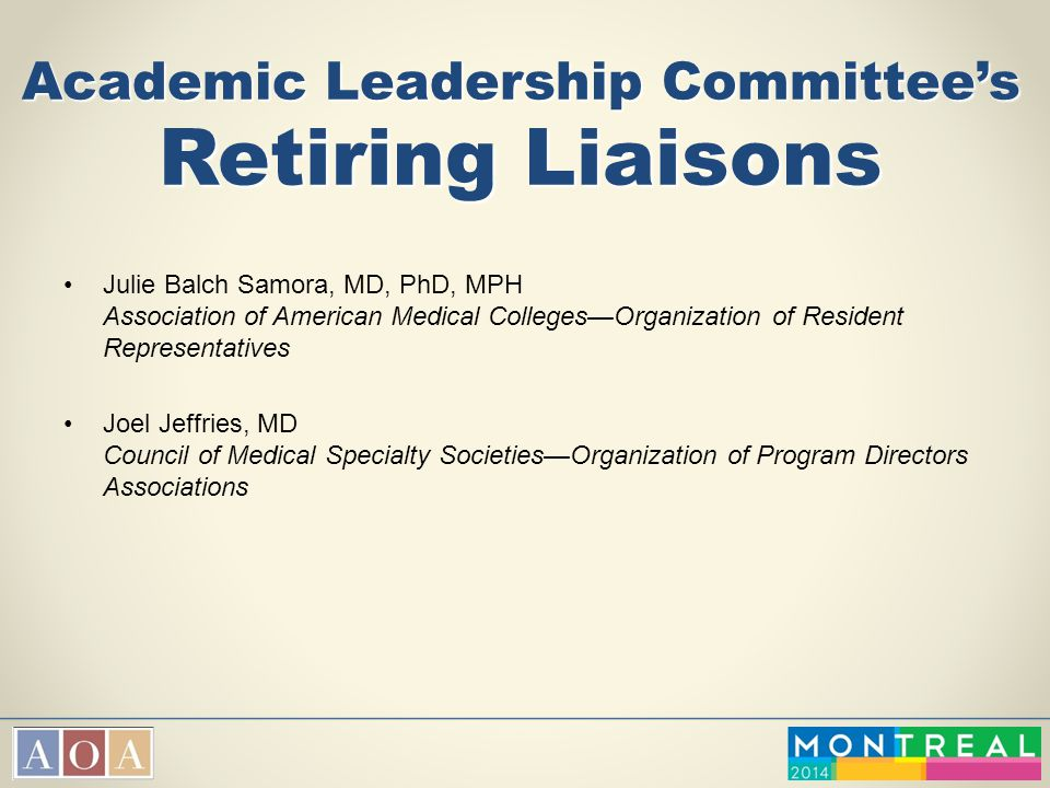 Academic Leadership Committee's Retiring Liaisons