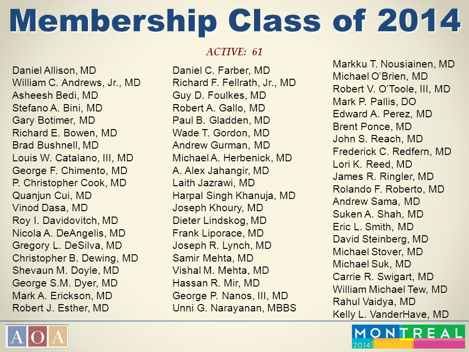 Membership Class of 2014 ACTIVE: 61 Markku T. Nousiainen, MD
