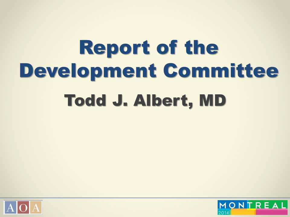 Report of the Development Committee