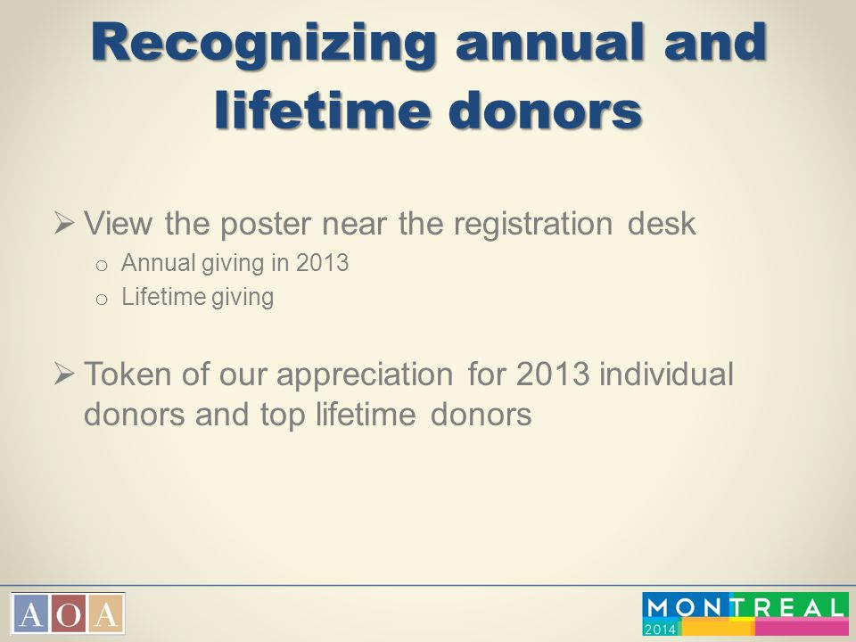 Recognizing annual and lifetime donors