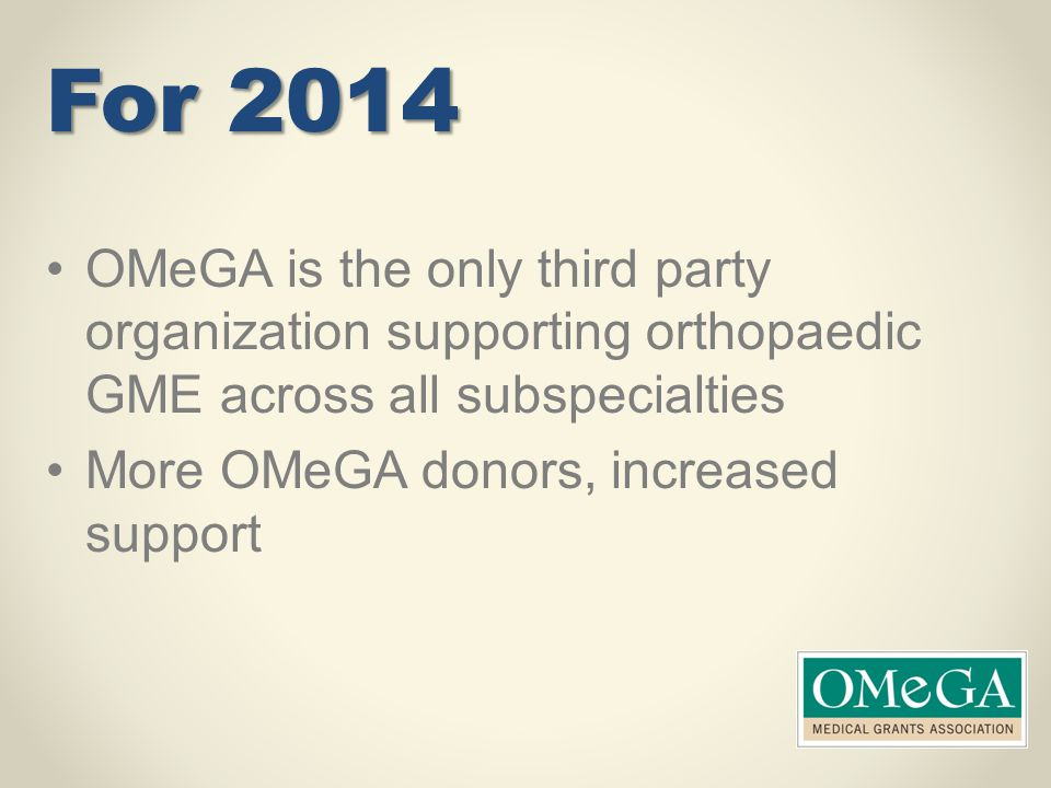 For 2014 OMeGA is the only third party organization supporting orthopaedic GME across all subspecialties.