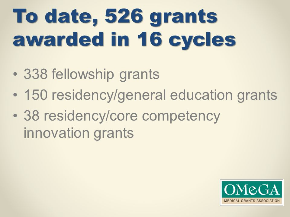 To date, 526 grants awarded in 16 cycles