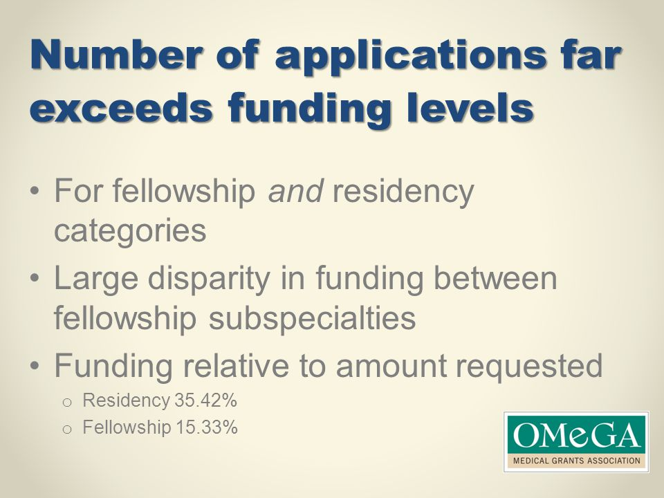 Number of applications far exceeds funding levels