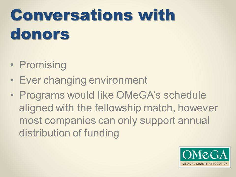 Conversations with donors