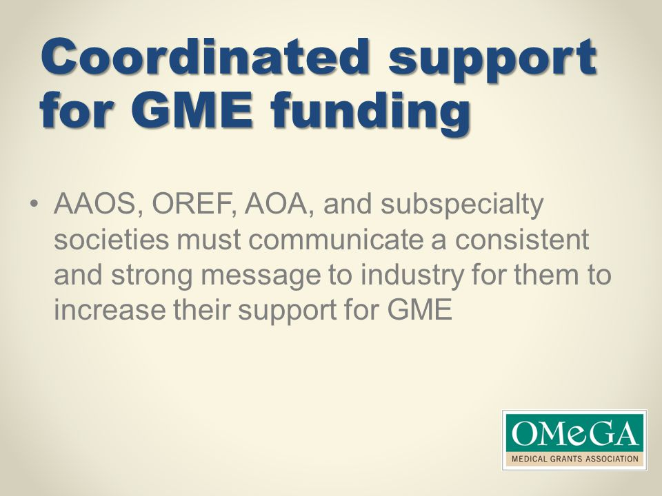 Coordinated support for GME funding