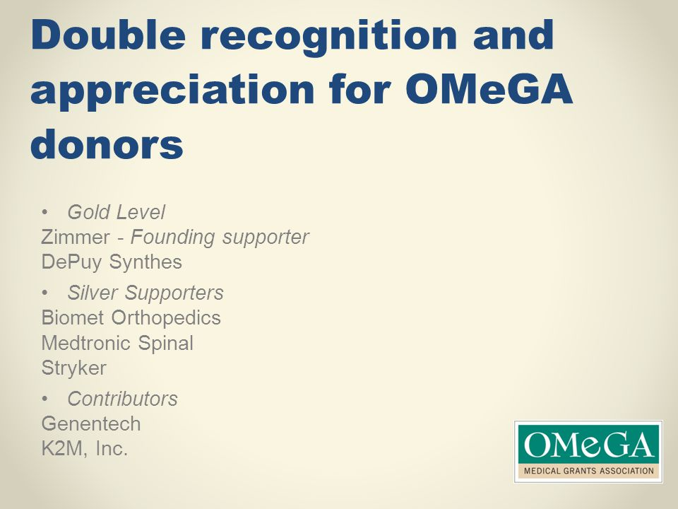 Double recognition and appreciation for OMeGA donors
