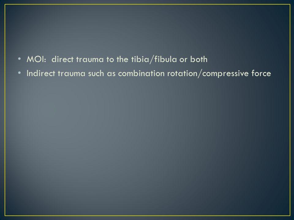 MOI: direct trauma to the tibia/fibula or both