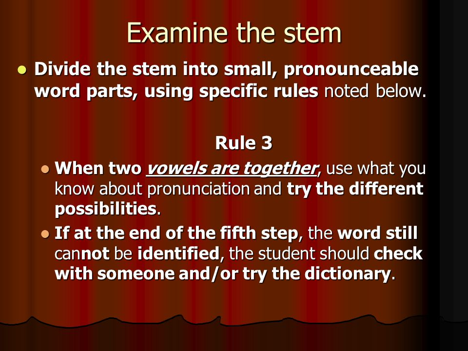 Examine the stem Divide the stem into small, pronounceable word parts, using specific rules noted below.
