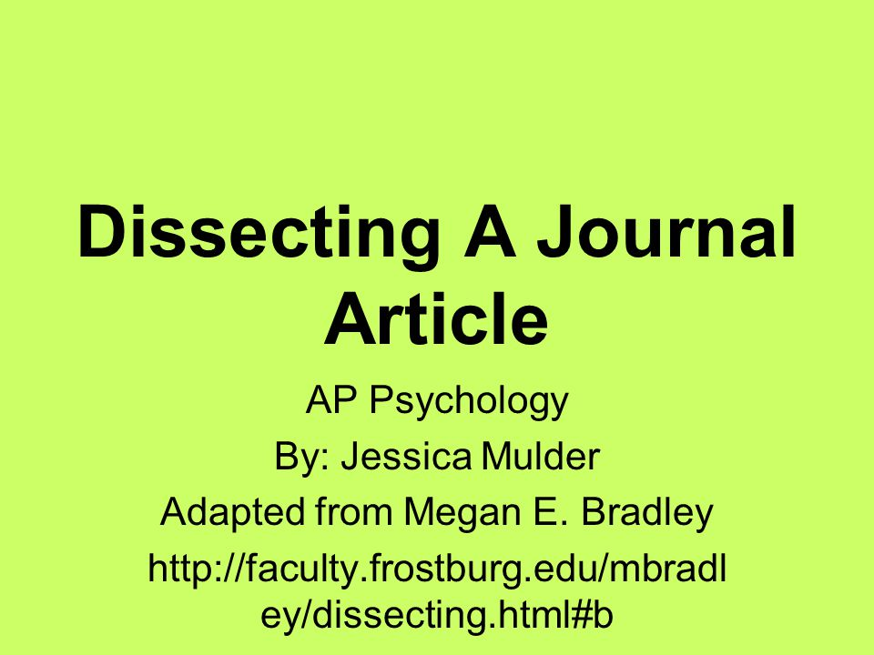 Dissecting A Journal Article