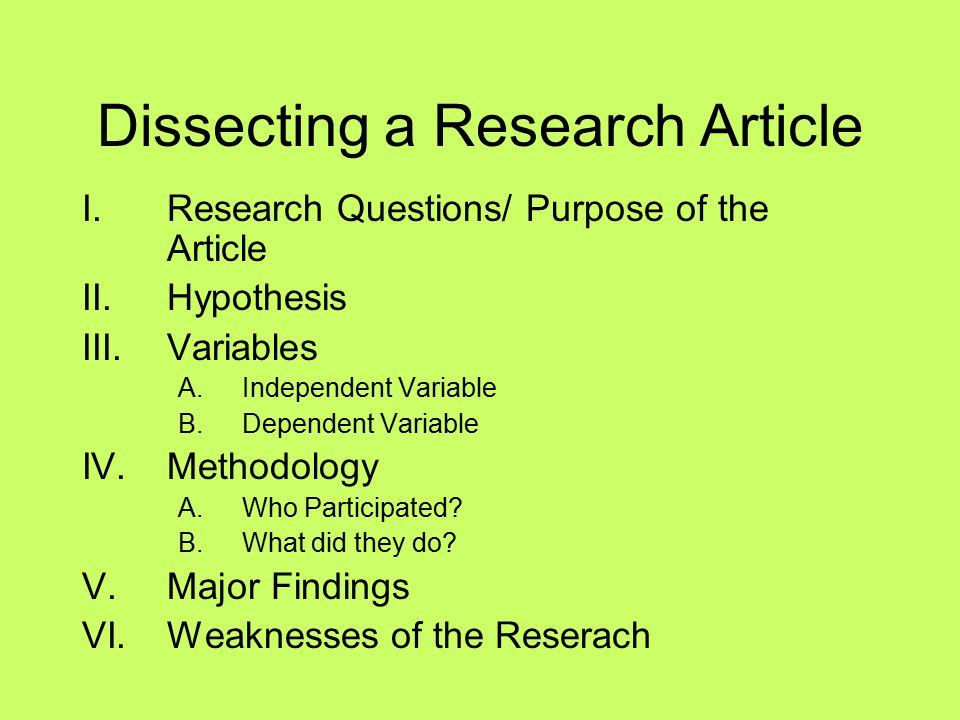 Dissecting a Research Article