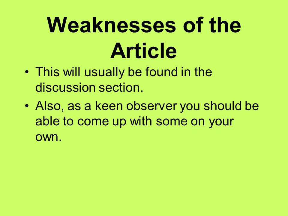 Weaknesses of the Article