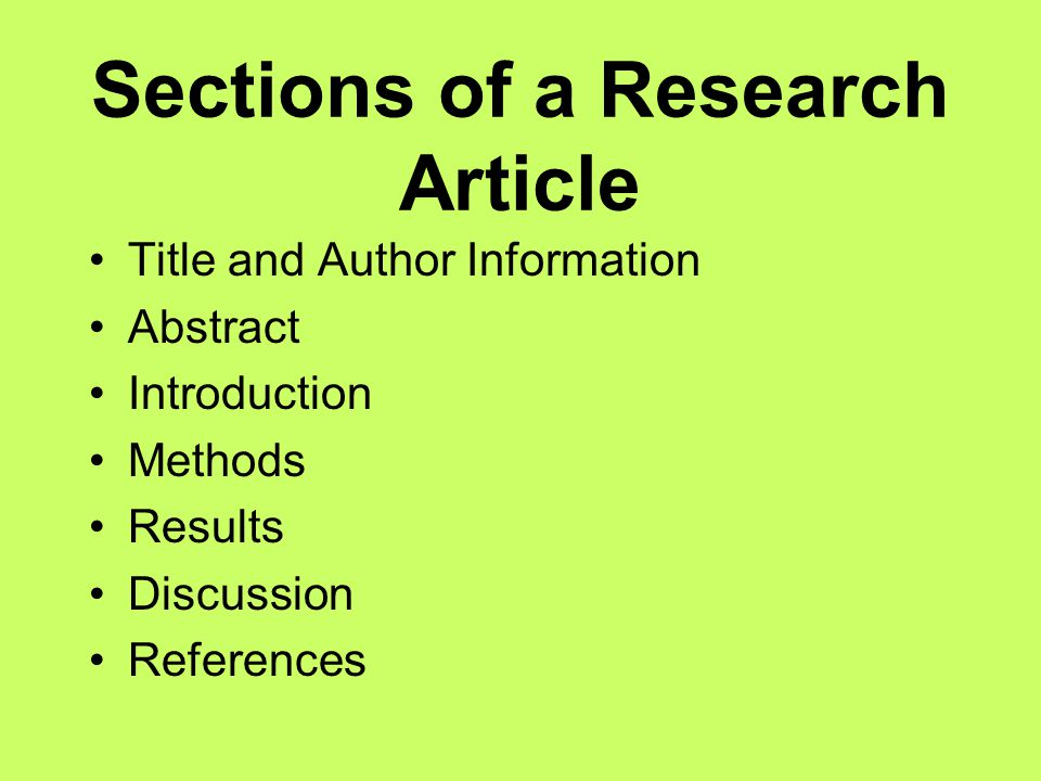 Sections of a Research Article