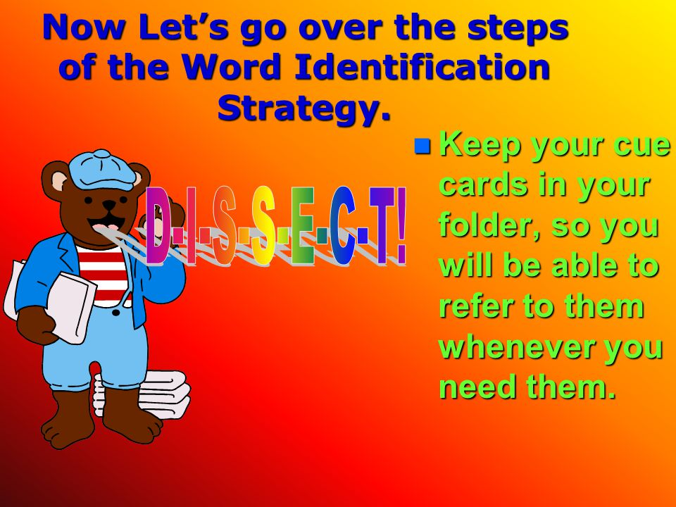 Now Let's go over the steps of the Word Identification Strategy.