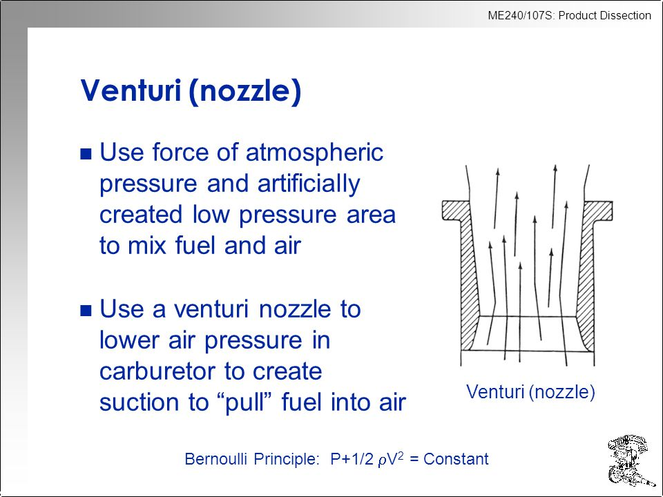 Venturi (nozzle) Use force of atmospheric pressure and artificially created low pressure area to mix fuel and air.