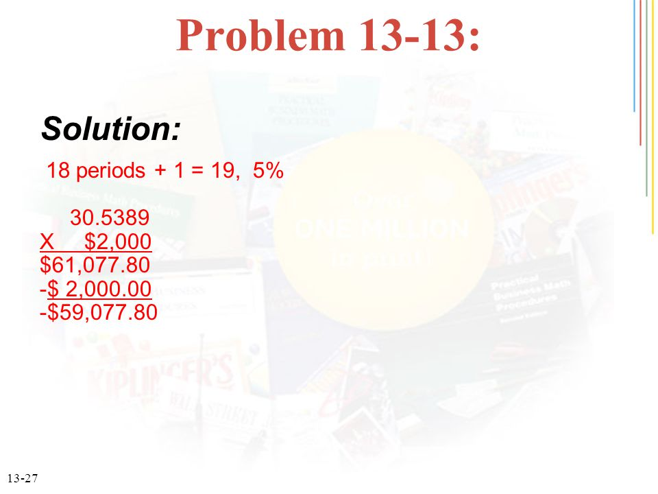 Problem 13-13: Solution: 18 periods + 1 = 19, 5% 30.5389 X $2,000