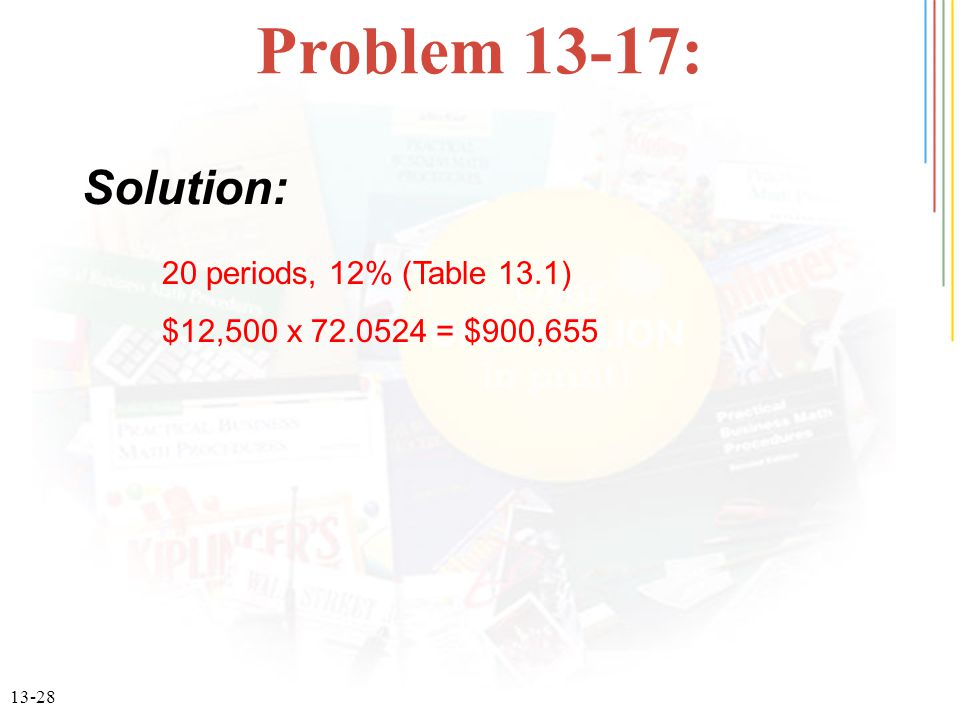 Problem 13-17: Solution: 20 periods, 12% (Table 13.1)