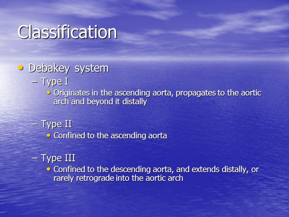 Classification Debakey system Type I Type II Type III
