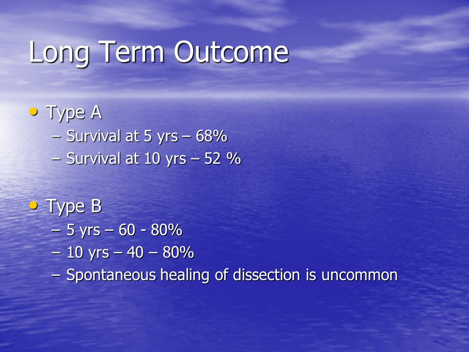 Long Term Outcome Type A Type B Survival at 5 yrs – 68%
