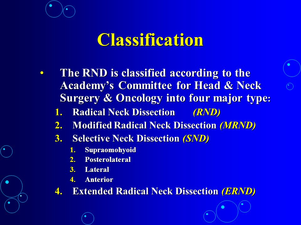 Classification The RND is classified according to the Academy's Committee for Head & Neck Surgery & Oncology into four major type: