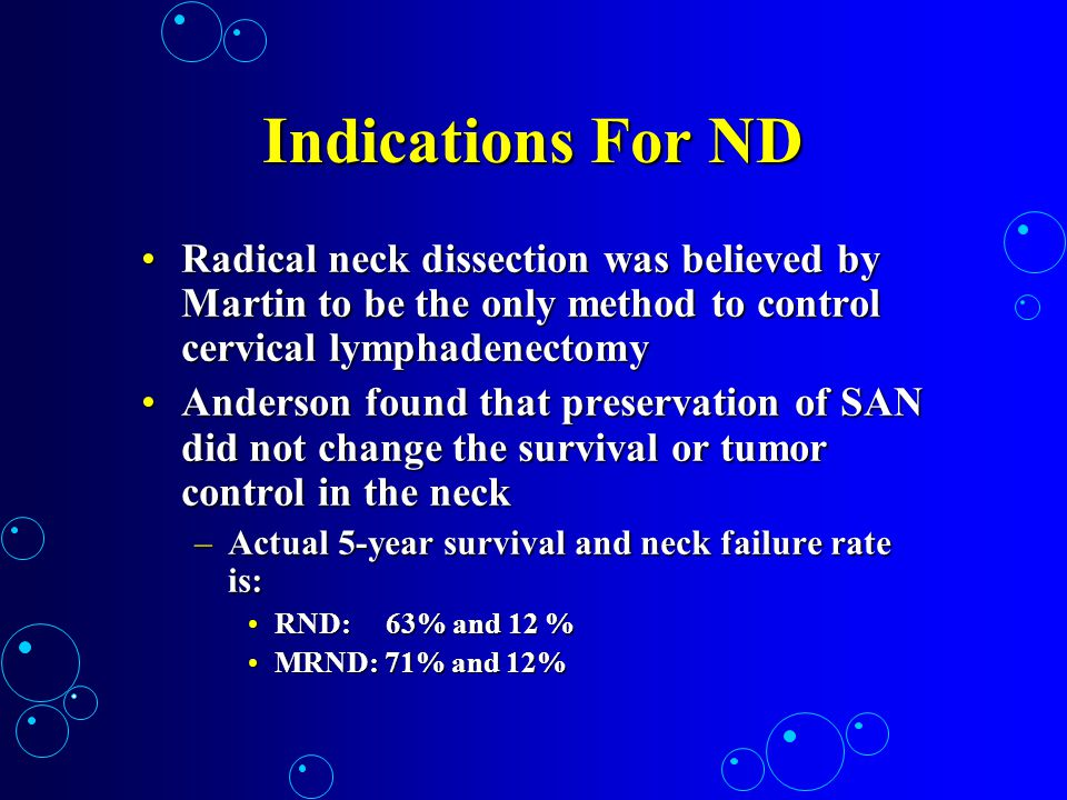 Indications For ND Radical neck dissection was believed by Martin to be the only method to control cervical lymphadenectomy.