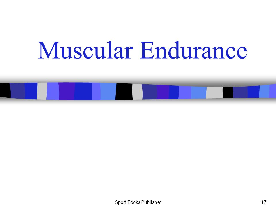 Muscular Endurance Sport Books Publisher