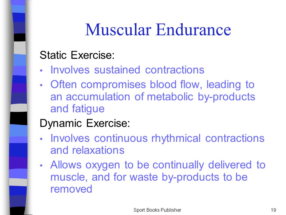 Muscular Endurance Static Exercise: Involves sustained contractions