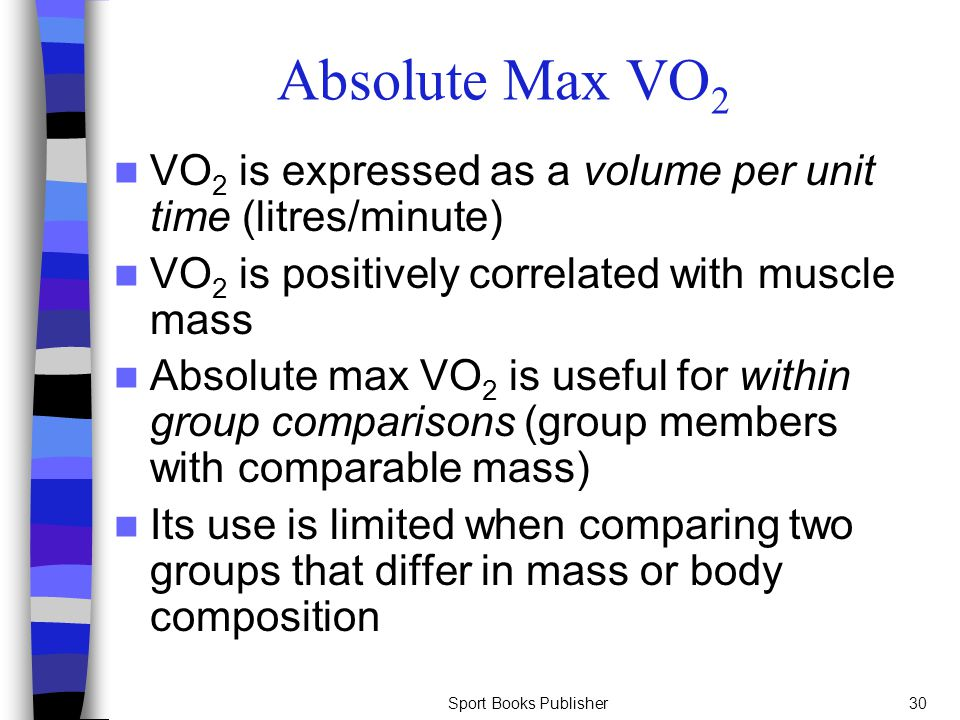 Absolute Max VO2 VO2 is expressed as a volume per unit time (litres/minute) VO2 is positively correlated with muscle mass.