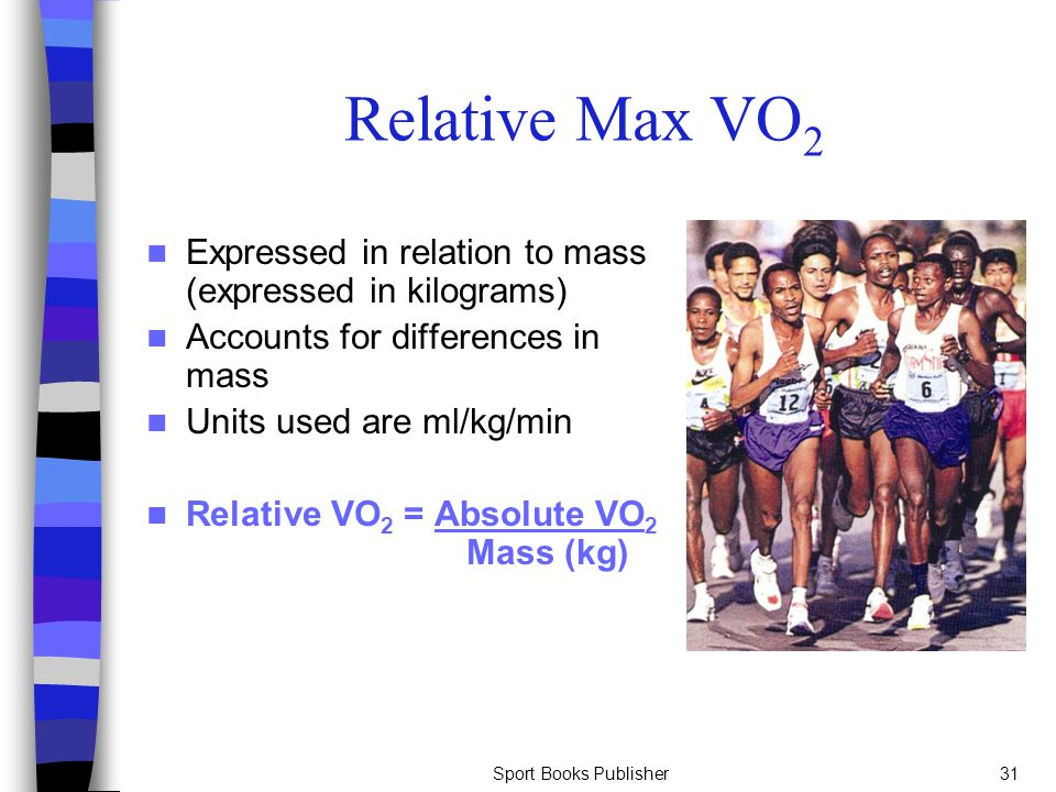 Relative Max VO2 Expressed in relation to mass (expressed in kilograms) Accounts for differences in mass.