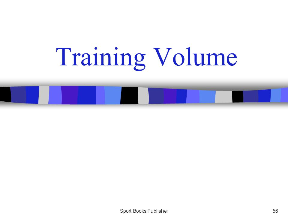 Training Volume Sport Books Publisher