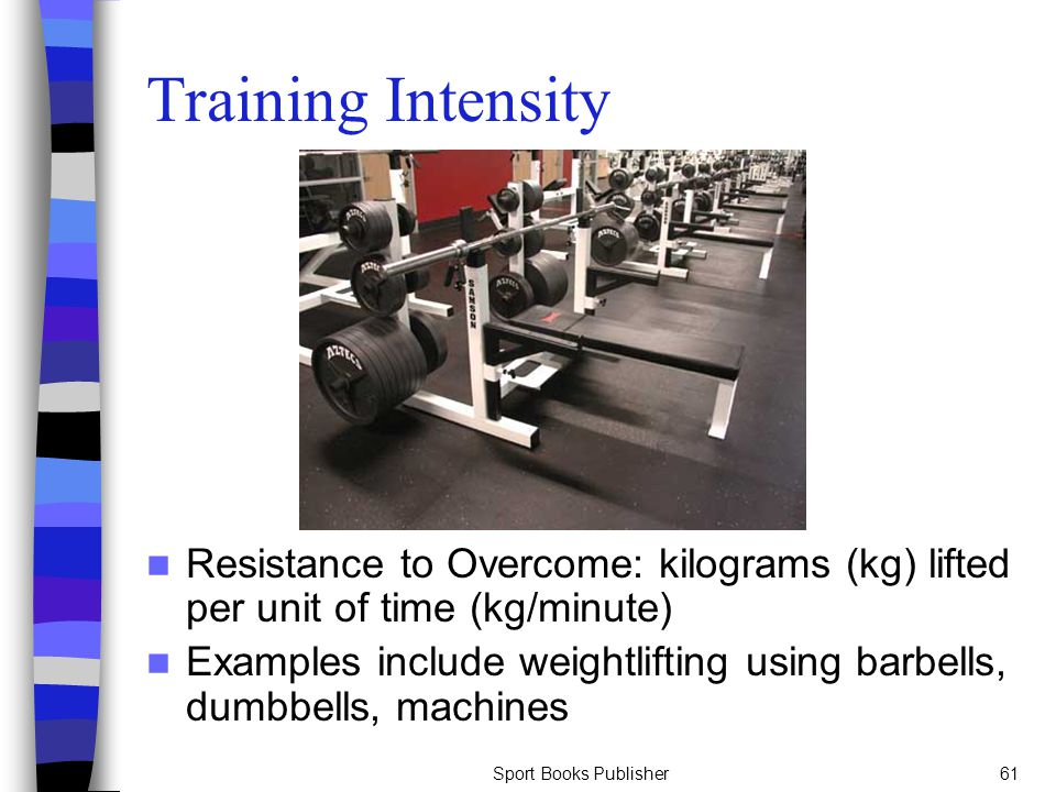 Training Intensity Resistance to Overcome: kilograms (kg) lifted per unit of time (kg/minute)
