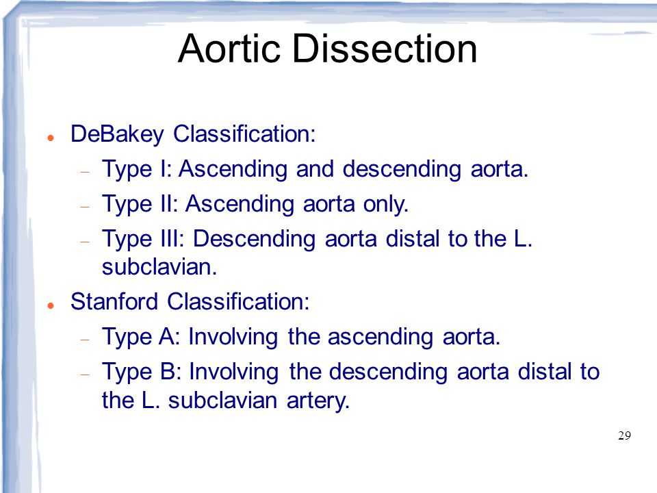 Aortic Dissection DeBakey Classification: